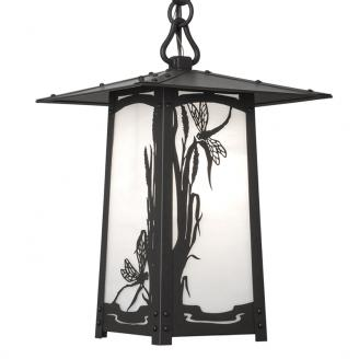 Craftsman Pendant Light with Dragonfly filigree. Hanging lantern in black finish with white glass.
